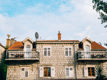 The house with orange tiled roof. Houses in Croatia and Monteneg Stock Image
