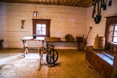 House in Orava. Photo of old room with white walls in house of Slovak ancestors with typical historical equipment in Zuberec, Orava region in Slovakia royalty free stock images