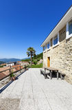 House, outdoor view. Holiday home in the mountains, outdoor view, stone facade Stock Images