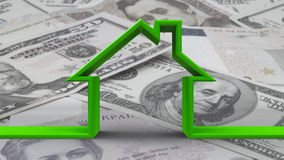 House outline on bw money background Royalty Free Stock Photo