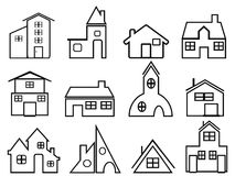 House outline icons Royalty Free Stock Photo