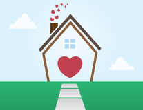House Outline Love Stock Photo