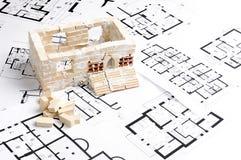 House over blueprint Royalty Free Stock Photos