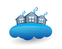 House over clouds. illustration Royalty Free Stock Images
