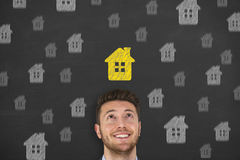 House over Human Head Royalty Free Stock Images
