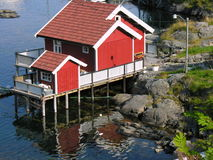 House over a river. In Norway Lofoten Royalty Free Stock Photography