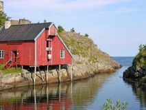 House over a river. Palafitte house over a river in Lofoten, Norway Royalty Free Stock Photography