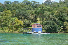 House over the sea on Caribbean coast of Panama Royalty Free Stock Images