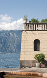 House over the water at lake garda italy Royalty Free Stock Photography