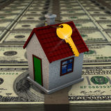 House on packs of banknotes Royalty Free Stock Photos