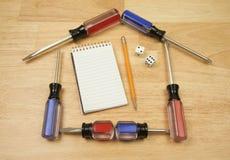 house pad paper screwdrivers shaped Стоковые Изображения RF