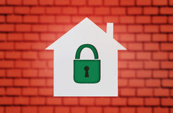 House with padlock Stock Photo