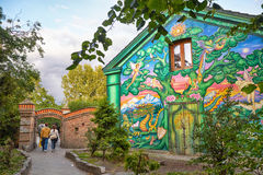 The house painted by fantastic graffiti at the entrance to Chris royalty free stock image