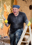 House Painter. Standing of the ladder - Full Frame Stock Photos