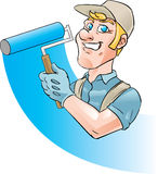 House painter. Smiling house painter holding painting roller stock illustration
