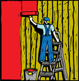 House painter. The young man are painting the old wall. Bright color vector illustration Royalty Free Stock Photography