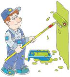House painter with a color roller. Funny smiling worker painting a wall with a paint roller, a vector illustration in cartoon style Stock Photos