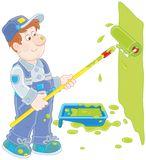 House painter with a color roller. Funny smiling worker painting a wall with a paint roller, a vector illustration in cartoon style Stock Photo