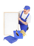 House painter and empty white board Stock Image