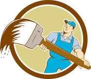 House Painter Giant Paintbrush Cartoon Royalty Free Stock Photo