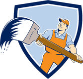 House Painter Giant Paintbrush Shield Cartoon Stock Image