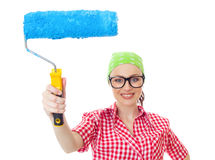 House painter. Happy woman with roller ready for wall painting, isolated on white. Lovely female worker renovating Stock Photography