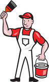 House Painter Holding Paint Can Paintbrush Cartoon. Illustration of a house painter holding paint can and paintbrush on isolated white background done in cartoon Stock Image