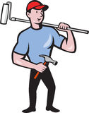 House Painter Holding Paint Roller Cartoon Stock Images