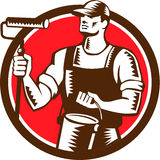 House Painter Holding Paint Roller Circle Woodcut Royalty Free Stock Photos