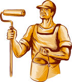 House Painter Holding Paint Roller Etching Stock Images