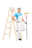 House painter holding a paint roller Royalty Free Stock Photography