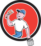 House Painter Holding Paintbrush Bucket Cartoon Royalty Free Stock Images