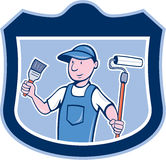 House Painter Holding Paintbrush Roller Cartoon Royalty Free Stock Photo