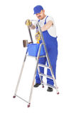 House painter and ladder Royalty Free Stock Photography