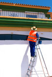 House Painter on Stepladder Royalty Free Stock Images