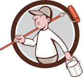 House Painter Paint Roller Can Circle Cartoon Royalty Free Stock Image