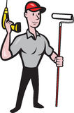 House Painter Paint Roller Handyman Cartoon Stock Images