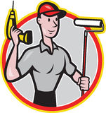 House Painter Paint Roller Handyman Cartoon Stock Photos