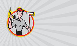 House Painter Paint Roller Handyman Cartoon Royalty Free Stock Image