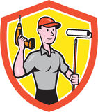 House Painter Paint Roller Handyman Cartoon Royalty Free Stock Images