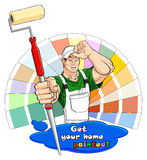 House painter with paint roller Stock Image