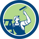 House Painter With Paint Roller and Ladder Retro Royalty Free Stock Photo