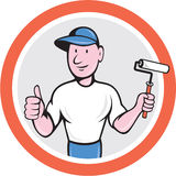 House Painter Paint Roller Thumbs Up Cartoon Royalty Free Stock Photography