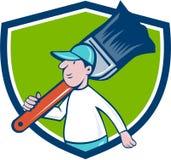 House Painter Paintbrush Walking Shield Cartoon Stock Image