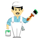 House Painter with Paintbrush. House painter wearing white overalls holding paint brush and can of paint stock illustration
