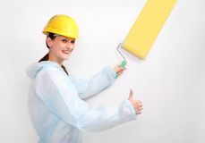 House painter with roller. Royalty Free Stock Images