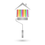 House and painter roller, painter and real estate logo. House and painter roller, paint, painter and real estate logo Royalty Free Stock Image