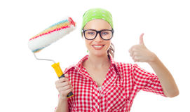 House painter. Smiling woman with roller gesturing thumbs up, isolated on white Stock Photography