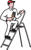House Painter Standing on Ladder Cartoon Royalty Free Stock Photo
