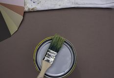 Housepainter choosing colors stock images